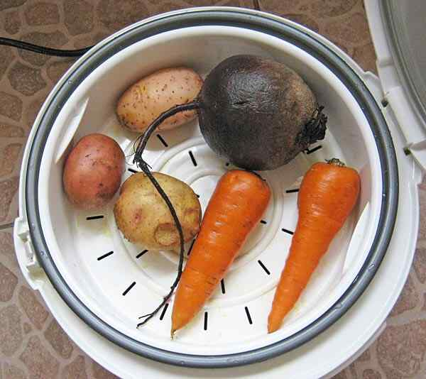 Овощи для винегрета в мультиварке на пару