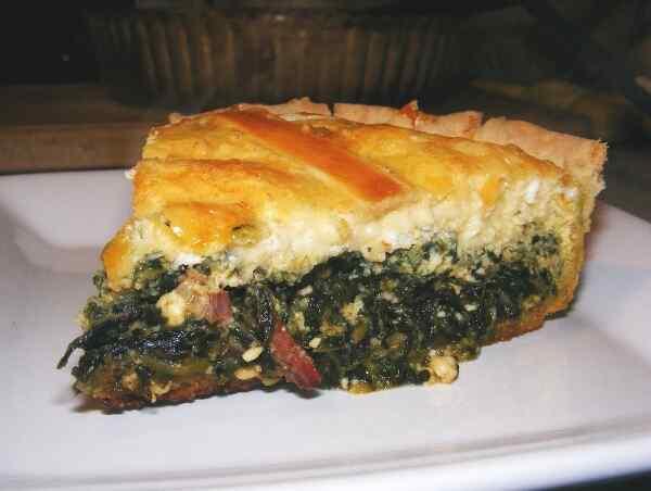 заливной пирог со шпинатом
