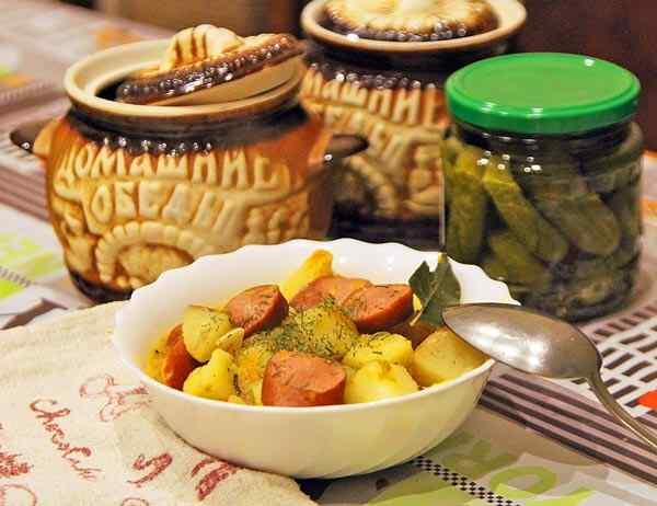 Картошка с колбасой рецепт с фото