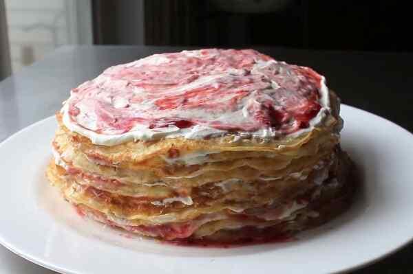 Блинный торт с клубникой рецепт с фото