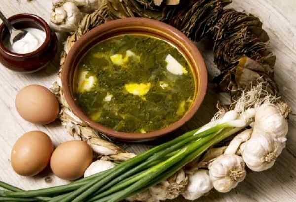 Зеленый борщ с щавелем и яйцом калорийность