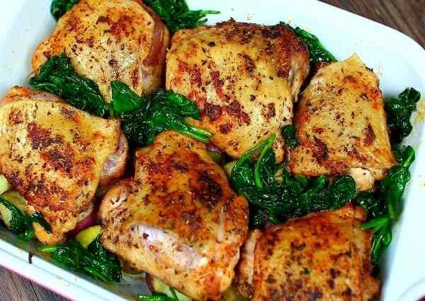 Курица со шпинатом в духовке